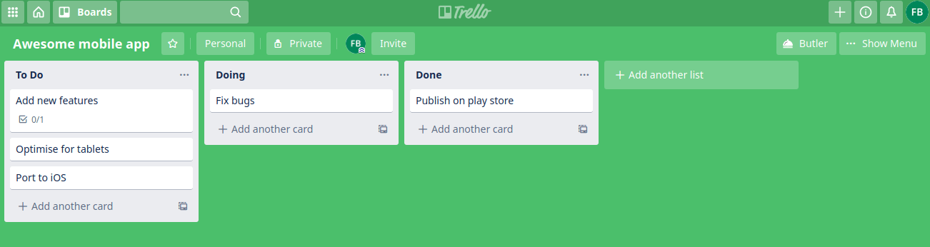 trello basic list
