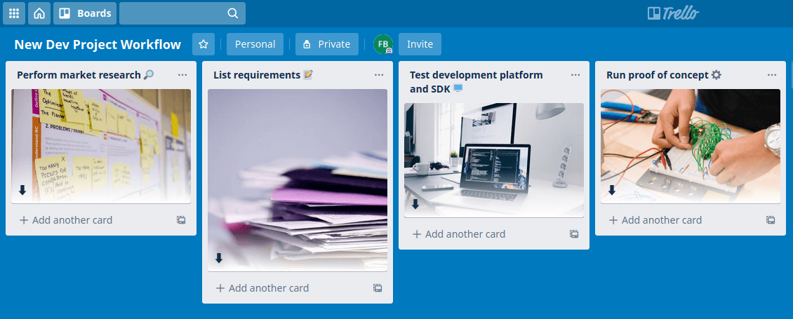 set your workflow on trello