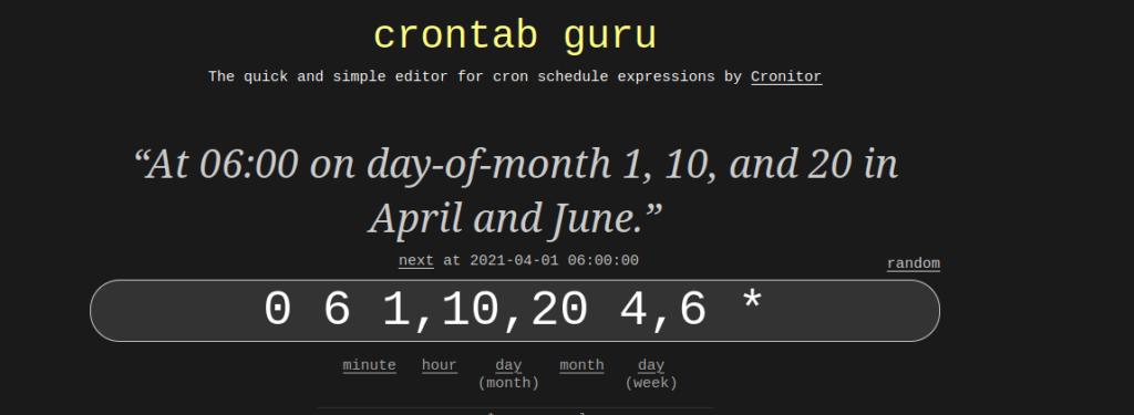 crontab guru translation